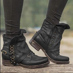 Wholesale zip head resale online - 2020 New Women s Ankle Boots Spot Zip Autumn and Winter New Hot Big Size Retro Square Head Women s Pu Leather Boots1