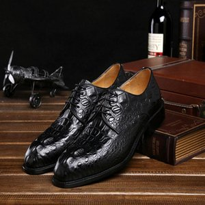 ingrosso genuine alligator mens shoes-Designer Genuine Leather Mens Alligator modello Oxford scarpe per il vestito da Men Shoes Business Office B143 formale