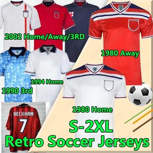 Retro classic national team soccer jerseys BECKHAM GASCOIGNE OWEN GERRARD SCHOLES 1982 89 90 92 94 96 98 2002 football uniforms
