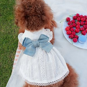 Wholesale pet dresses resale online - Pet Dog Clothes White Lace Mesh Heart Pattern Sleeveless Small Dog Dress Bow knot Buds Pet Clothing for Wedding Party