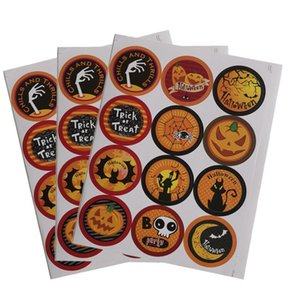 Wholesale seal coating resale online - Holloween Packaging Sealing Tag Pumpkin Ghost Cartoon Baking Message Cards Candy Gifts Labels Sticker DIY Decorative Accessories HWB1597