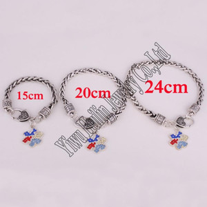 Wholesale puzzle pieces autism resale online - rhodium plated zinc studded with sparkling crystals Autism Awareness Puzzle Piece charm bracelet