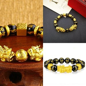 Wholesale gold jew resale online - 0Dp1Q Imitation of to and bracelet wealthgold plated gold Obsidian Obsidian Obsidianbracelet for men attract women lovers of Buddha beads jew