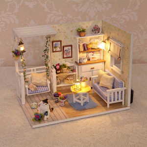 Wholesale wood dolls houses for sale - Group buy Doll House Diy miniature Wooden Puzzle D Dollhouse miniaturas Furniture House Doll For Birthday Gift Toys H13