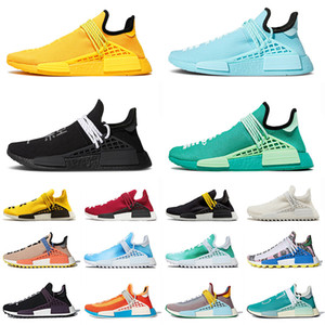 Wholesale pharrell sneakers size resale online - 2020 Pharrell Williams PW NMD Human Race Hu SIZE Womens Sport Shoes Extra Eye Orange White Yellow Black Trainers Mens Outdoor Sneakers