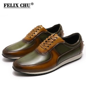 ingrosso men leather shoes photo-Big Size Stile Uomo Casual Shoes Vera Pelle dipinta a mano Oxford Marrone Verde Lace Up Fashion Street Foto Uomo Flats