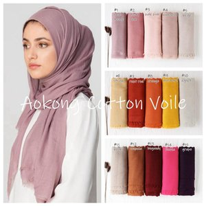 Wholesale solid cotton shawls scarves resale online - New Women Solid Maxi Hijab Scarfs Oversize Islam Shawls Head Wraps Long Muslim Frayed Real Cotton Blends Plain Hijabs
