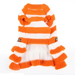 Wholesale pet dresses for sale - Group buy Pet Dog Clothes Autumn And Winter Stripe Dress Knitting Bow Skirt Thickening Keep Warm Puppy Clothing dg UU