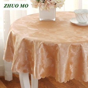 Wholesale dinning table round resale online - Jacquard Round waterproof Table cloth Dinning Decor Party Wedding decoration Table cover Pink gold yellow tablecloth1