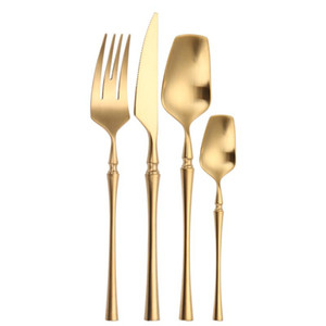 Wholesale piece flatware resale online - Matte Gold Cutlery Set Pieces Spoons Forks Knives Flatware Cutlery Sets Stainless Steel Set Golden Tableware