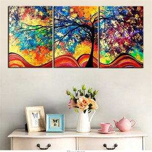 Wholesale tree life canvas print resale online - Canvas HD Prints Paintings Home Decor Living Room Framework Pieces Color Abstract Life Trees Pictures Modular Posters Wall Art