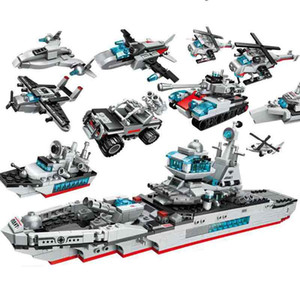 building blocks Military Series Warship Model helicopter3D DIY Assembly blocks for boys educational toys lepin technic