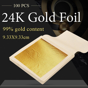 Wholesale gold leafing for sale - Group buy Leaf Real Gold Foil x9 cm for Edible Cake Decoration Facial Arts Craft Pape Q1106