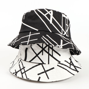 weiße eimer hüte für männer großhandel-Fisherman Beanie Hut Weibliche Brief Linie Herren Hüte Mode All Match Black and White Sunscreen Eimer Designer Caps Hüte Herren