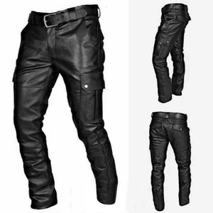 Wholesale men's leather pants resale online - Man Retro Leather Motorcycle Street Pants Men s Autumn Winter Punk Retro Goth Slim Casual Long Pants Trousers Pantalon Homme