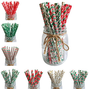 Wholesale gold striped straws resale online - 25pcs Christmas Paper Straws Snowflake Drinking Straw Merry Christmas Decorations for Home Xmas New Year Party Supplies