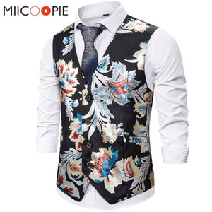 Bronzing Mens Floral Waistcoat Wedding Sleeveless Slim Fit Paisley Floral Slim Fit Top Quality Dress Vests For Men Gilet Costume