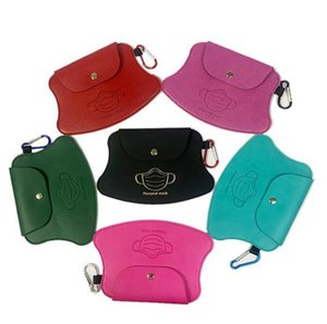 Wholesale designer girl bags for sale - Group buy Mask Storage Bags PU Leather Portable Face Mask Purse Bag Organizer Pouch Girls Dustproof Pad Storage Holder Clip DDA785
