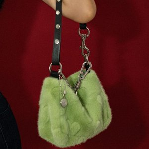 Wholesale hair mint resale online - Autumn and winter on the new hair bag new chao Korean version of the handbag mint green cute plush love mobile phone bag