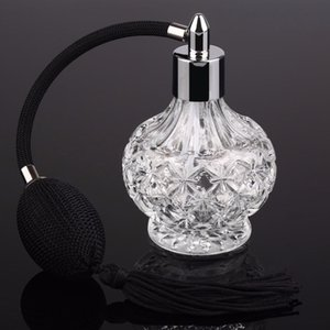 Wholesale black crystal perfume bottle resale online - Vintage Crystal Perfume Bottle ml Black Long Bulb Spray Atomizer Lady Gift