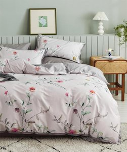 Wholesale king girl fashion resale online - Fashion pink blue floral bedding set girl full queen king s cotton warm double home textile bed sheet pillow case duvet cover