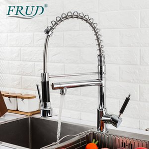 ingrosso sorgente d'acqua-Fred Chrome Black Kitchen Kitchen Faucet Tirare fuori Ugello Hot Cold Water Water Miscelatore rubinetto Outlet Doccia Swivel Tap Spring Torneira Cozinha T200710