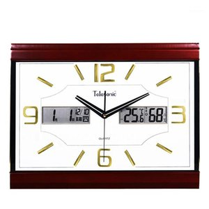Wholesale chinese calendars for sale - Group buy Chinese Minimalist Wall Clock Modern Silent Temperature Square Digital Wall Clock Wooden Quartz Calendar Klok Decorative WB50WC1