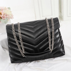 Wholesale real gold thread for sale - Group buy Designer Handbags Square Fat LOULOU Chain Bag Real Leather Women s Bag Large capacity Shoulder Bags High Quality Quilted Messenger Bag