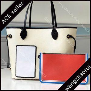 5A top quality luxuy bran neverfuull mm composite bag leather shoulder handbag canvas woman shopping bag designr fashion handbag withboxB006