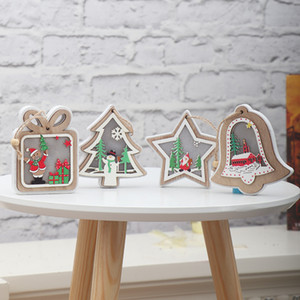 Wholesale wooden light design resale online - Christmas Lighted Wooden Pendant Christmas Tree Flash Gift Star Design Hanging Pendant Creative Merry Xmas Tree Hanging Ornaments VT1814