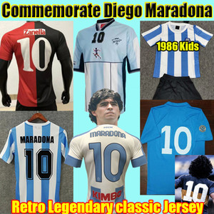 Wholesale soccer argentina resale online - Diego Maradona Retro Soccer Jerseys Argentina Napoli Boca juniors Vintage Classic football Shirt Kids Kits Uniform