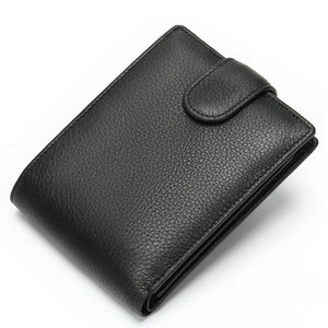 Wholesale leather walet resale online - 100 Genuine Leather Men Wallets Real Cowhide Wallets for Man Fashion Male Coin Purse Short Black Walet Card Holder Money