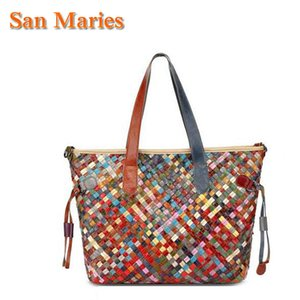 Wholesale unique handbag designers resale online - San Maries New Large Knitting Tote Women Purses And Handbags Unique Colorful Designer Handbags High Quality Woven Bags For Lady C0121