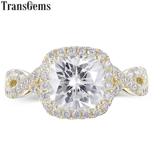 Wholesale halo engagement rings resale online - Transgems K Yellow Gold Center ct mm GH Color Cushion Cut Moissnaite Halo Engagement Ring for Women Wedding Gift Y200620