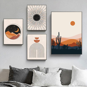 Wholesale canvas art moon for sale - Group buy Abstract Mid Century poster Sun and Moon Canvas Painting Rainbows Modern Art Print Geometric Wall Art Picture for Living Room