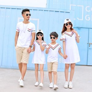 Wholesale t girls dresses resale online - Family Look Mother Daughter Dress Summer Cotton Short Sleeves T Shirt shorts Set Stripe A line Dress for Girl Boys T Shirt