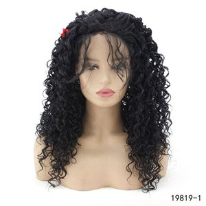 lacefront perücken großhandel-Black Color Curly Synthetic Lacefront Perücke Zoll Persure De Cheveux Demonstrumente Töne Front Wigs