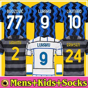 INTER 2020 2021 Soccer Jersey LUKAKU MILAN VIDAL BARELLA LAUTARO ERIKSEN ALEXIS HAKIMI 20 21 Football Shirt Uniforms Men + Kids Kit Third