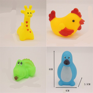 Wholesale bathe toys resale online - Mixed Animals Swimming Water Toys Colorful Soft Floating Rubber Duck Squeeze Sound Squeaky Bathing Toy For Baby Bath Toys G2