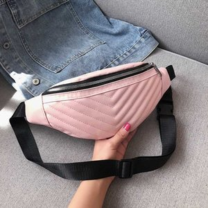 Wholesale multi functional waist bag resale online - version fall Korean Women s net red diamond lattice embroidered thread chest waist bag multi functional One Shoulder Messenger