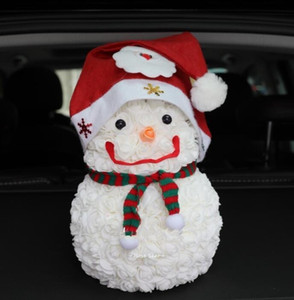 Wholesale valentine decorations for sale - Group buy Hot CM Rose Christmas Snowman imitation Everlasting flower soap flower Christmas Decorations Valentine Girl Friend Snowman Gift GGA3752