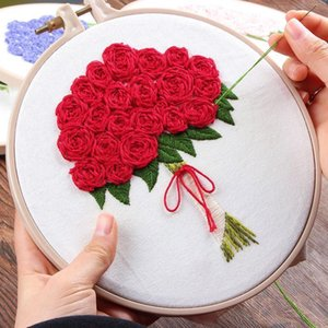 Wholesale needlework kits resale online - 3D DIY Rose Flowers Wedding Bouquet Embroidery Set Needlework Kits Cross Stitch with Hoop for Beginner Unique Gift Home Decor1