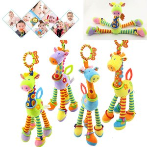 Wholesale giraffe baby bedding resale online - Baby Plush Rattle Toys Cartoon Giraffe Handbells Infant Development Handle Toys Bed Stroller Hanging Teether Educational Toys Q0113