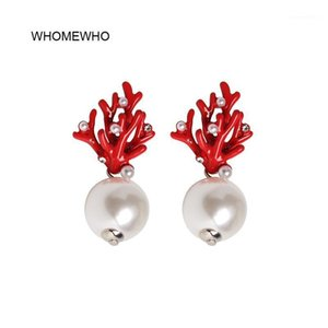 Wholesale red coral stud earrings resale online - WHOMEWHO Red Coral Deer Antler White Faux Pearl Stud Christmas Earrings Fashion Xmas Gift Jewelry Holiday Party Ear Accessories1