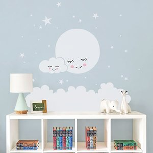 Wholesale kids decorative wall paper for sale - Group buy Moon stars Wall Decal Cloud Nursery Wall Stickers For kids Room Decal Nursery Wall Sticker girls decorative vinyl babies T180838