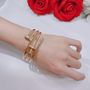 Wholesale springs nails for sale - Group buy Hot sale screw fashion nails Gold Bracelets Women Bangles Punk for Best gift luxurious Superior quality jewelry Three Circle Bracelet