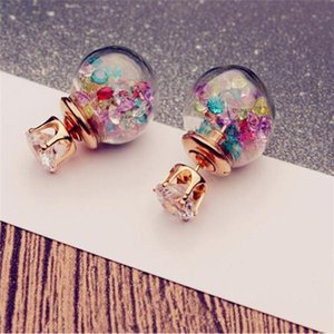 Wholesale hot ball numbers resale online - Hot Europe Fashion Jewelry Cute Glass Ball Rhinestone Stud Earrings Women s Elegant Earrings
