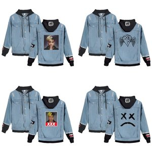 Wholesale cry baby resale online - Lil Peep Cry Baby Denim Jacket Xxxtentacion hip pop singer Revenge Hooded Denim Jacket Fit Men Women Hoodies Autumn sweatshirt LJ201013