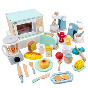 Wholesale toy microwaves resale online - Children s wooden simulation kitchen toy set play house early education toy bread machine coffee machine juicer microwave oven