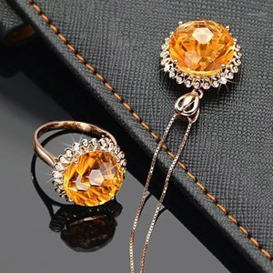 Wholesale sunflowers ring resale online - Adjustable Open Rings For Women Yellow Stone Crystal Rose Gold Color Sunflower Wedding Fashion Gift Jewelry KBR3921